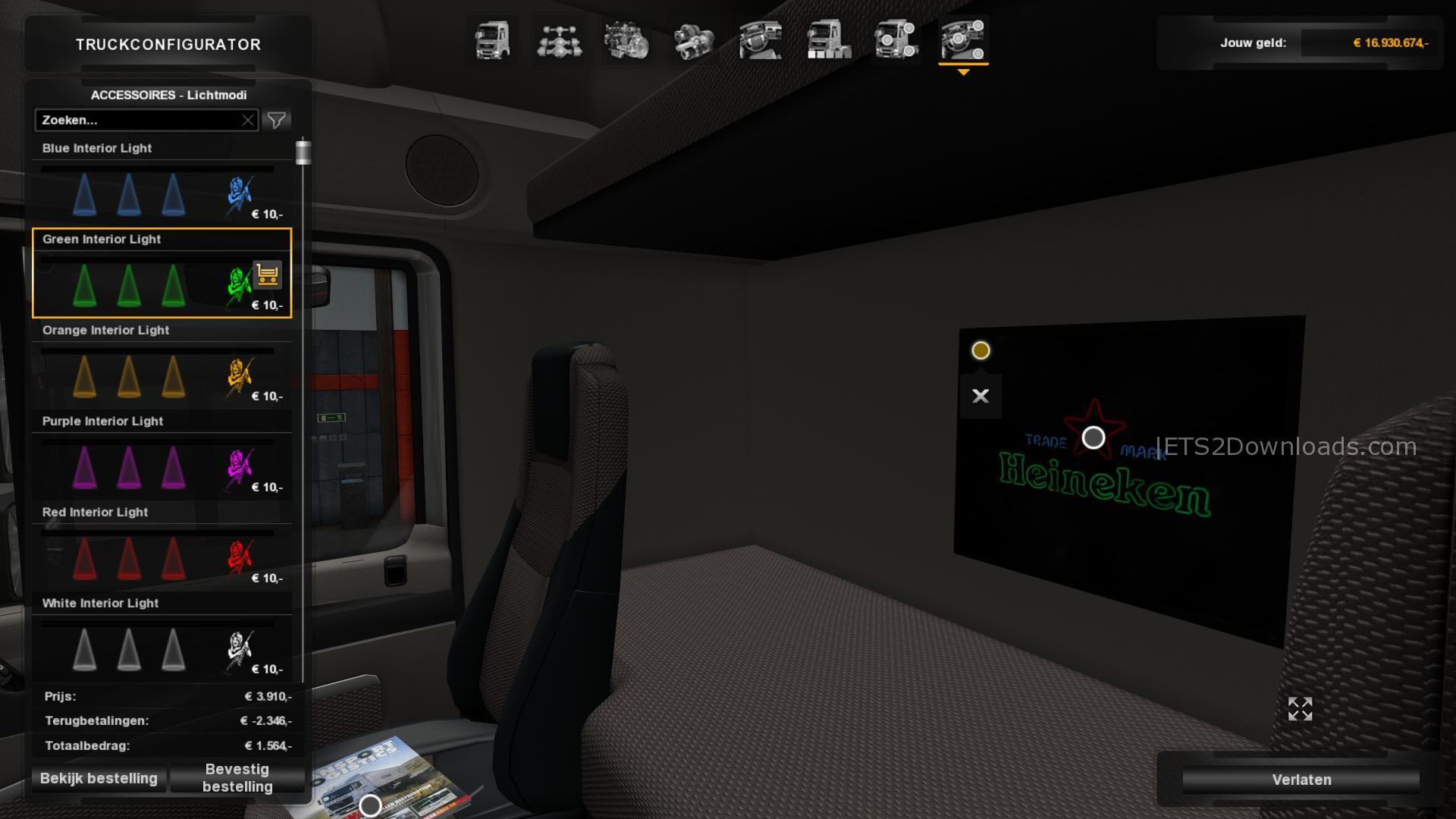 Mods | ETS Lights ETS2Downloads - 2 & Interior Emblems v3.2