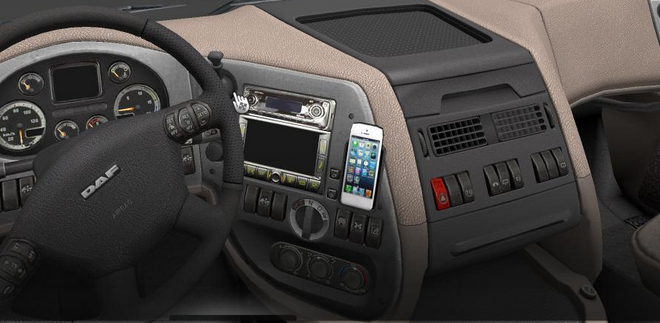 Iphone 5 for daf xf interior euro truck simulator 2 mods for Interior iphone x