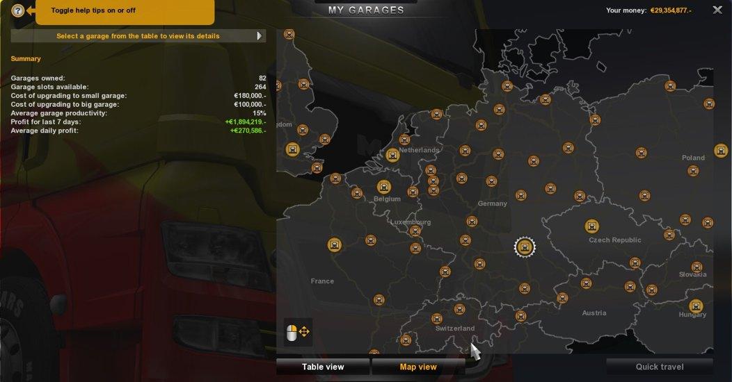 Savegame for ETS2 (82 garages) - Euro Truck Simulator 2 Mods