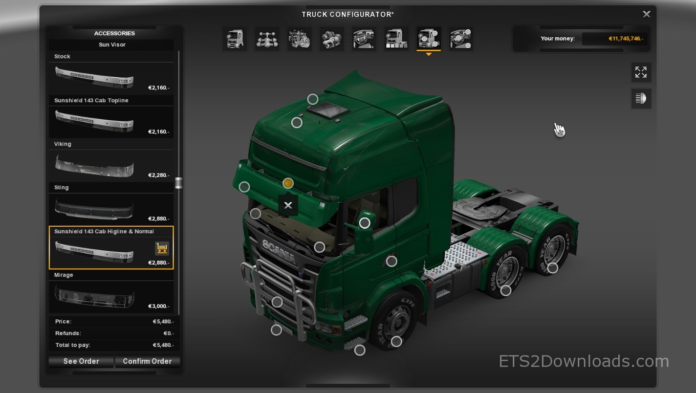 Sunshield 143 For Scania Euro Truck Simulator 2 Mods
