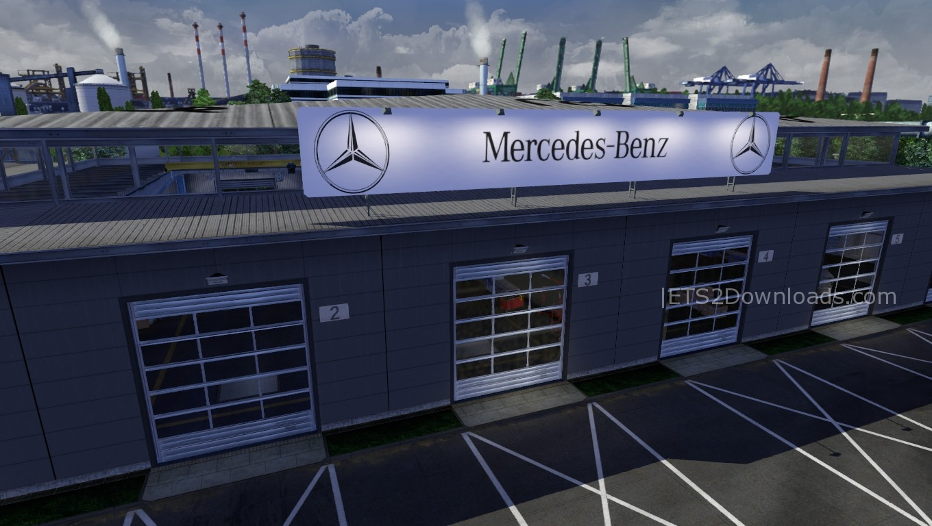 Mercedes benz big garage ets 2 mods ets2downloads for Garage mercedes var 83