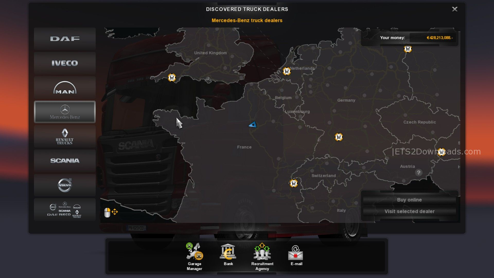 Euro truck simulator 2 update with mercedes benz for Mercedes benz dealer locations