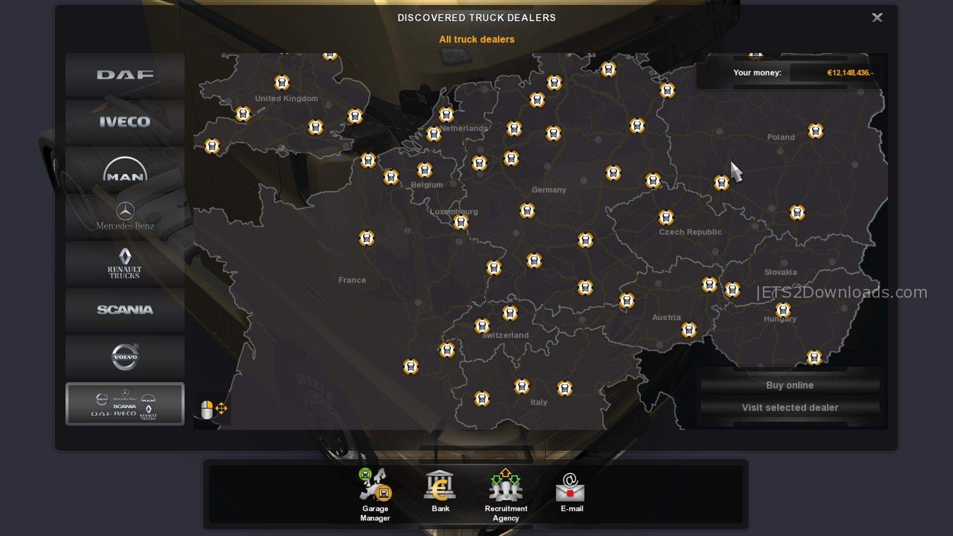 Euro truck simulator 2 truck dealers map for Mercedes benz dealer locations